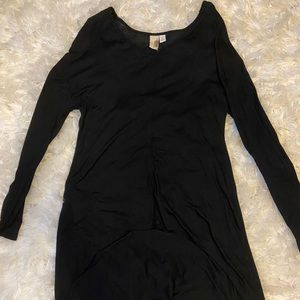 Franchesca's Black Longsleeve High Low Top